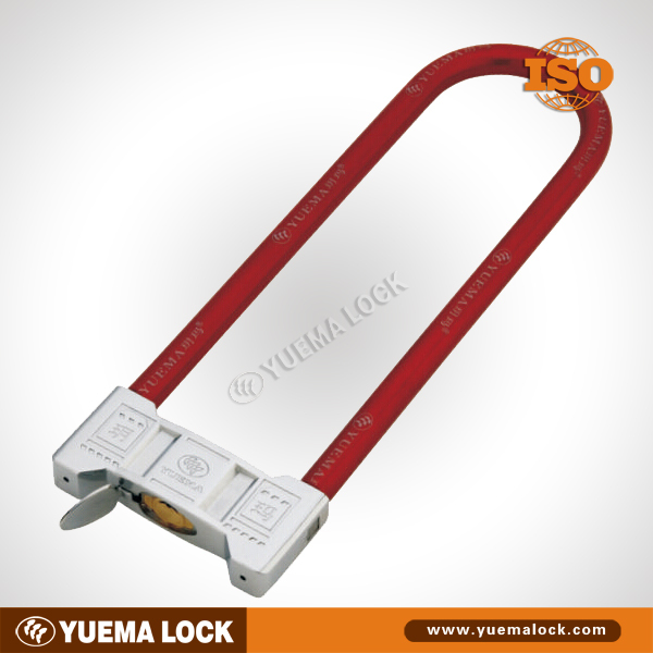 Long U shackle lock for motorbike, motorcycle, scooter