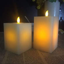 Double Light Wax Square Battery operarted Flameless LED Candles For Wedding
