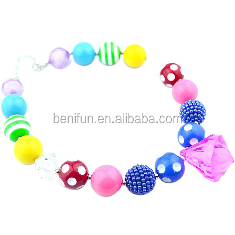 Latest charming chunky jewelry set,acrylic beads bubblegum necklace and bracelet set bulk sales for girls/kids/child DIY jewelry