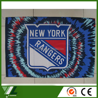 polyester fabric screen printing New York Rangers flag