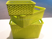 multi-purpose rattan box weave plastic storage basket without lid