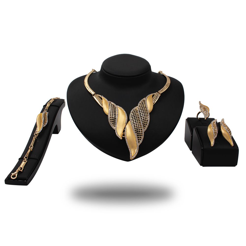 2018 gold jewelries set gold african beads jewelry set