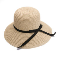 Deshine Wholesale Fashion Lady Paper Flat Brim Beach Promotional Straw Hat ZX1695