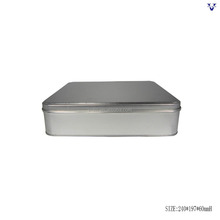 Silver colour rectangle metal tin box with sliding lid