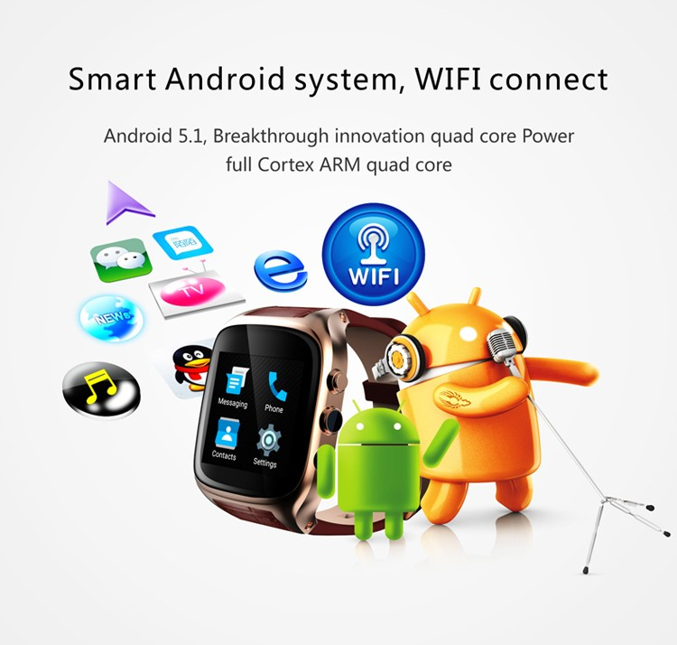 x01s android 5.1 OS 1G ram mtk6572 CPU bt 4.0 2MP camera 1.54 inch IPS screen 3G wifi GPS watch