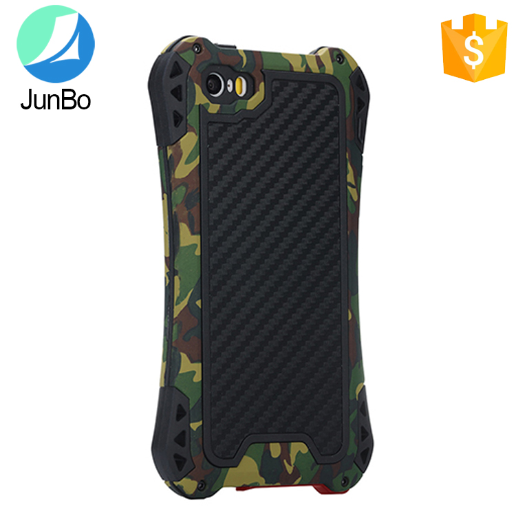 Mobile phone accessory camouflage printed waterproof case back cover for iphone 5 metal silicone material case