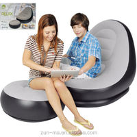 Good quality flocking PVC inflatable chesterfield sofa with stool