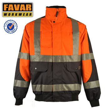 Waterpoof Orange High visibility Reflective Winter Warm Safety Jacket