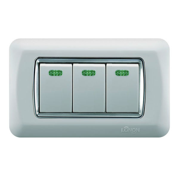 Safety wall electrical wireless push switch three gang one way sliver series