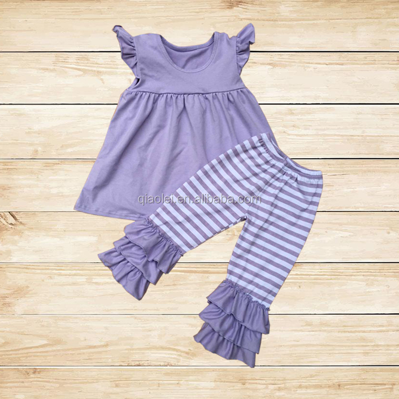 Factory Baby Girls Boutique Flutter Sleeve Top And Stripe Pants Kids Clothes Wholesale Girls Outfits