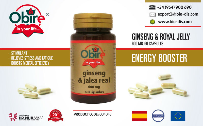 Ginseng + Royal Jelly 600mg 60 capsules - Food supplement