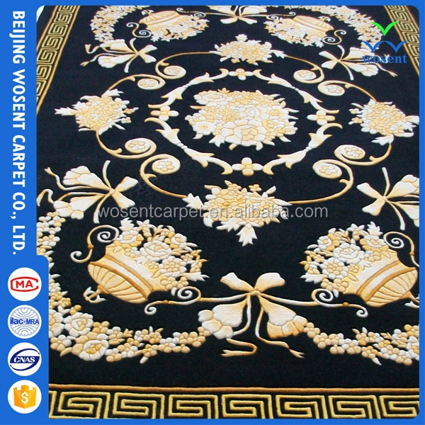 OEM flower pattern luxury black color wool carpet for hotel