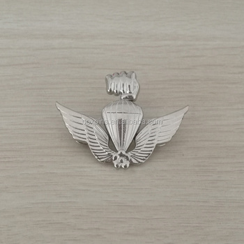 3D double wing fire balloon personalized design silver badge