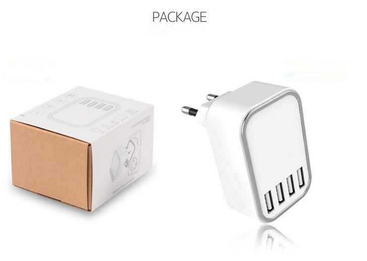 Customized logo KC US EU UK AU 4 port USB Travel home Charger multi port usb charger