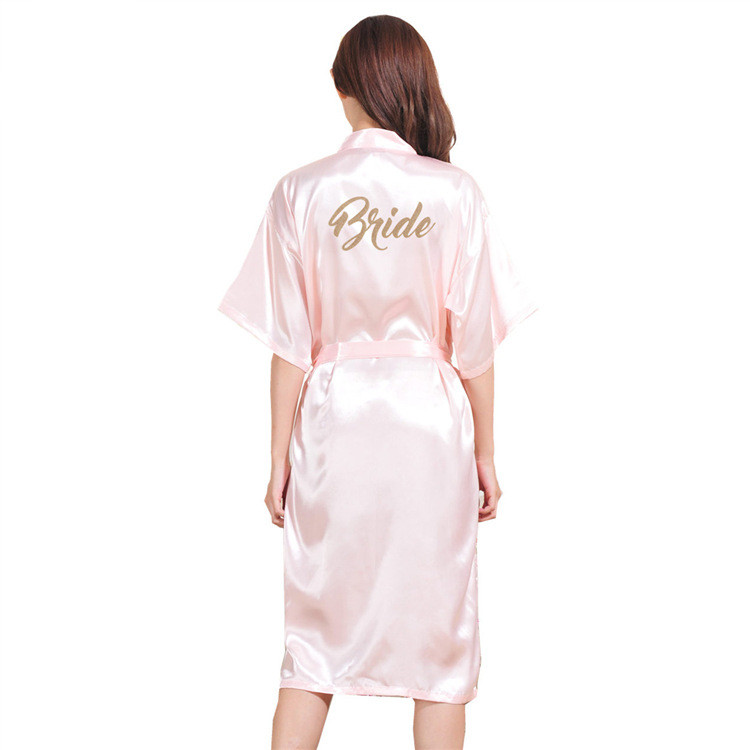 Custom Made Wedding Robe 2019 New Style Bridesmaid Robe Simple Hot Stamping Wedding Gown Women Nightgown