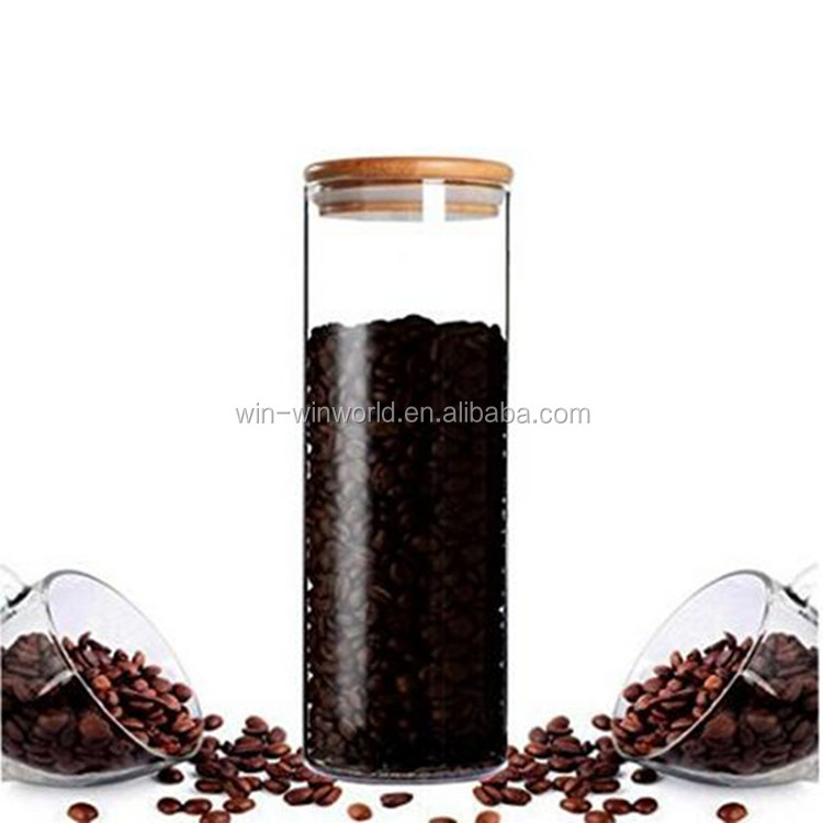 Promotional Wholesale Coffee Tea Sugar Glass Storage Canisters With Bamboo Airtight Lid