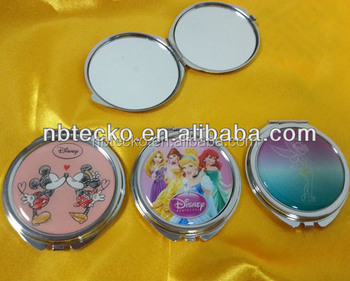 Double sides round shape custom logo metal pocket mirror