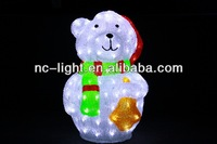 2013 multicolor bear decoration light/ 3D LED christmas acrylic bear motif light for outdoor