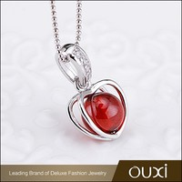 OUXI 2016 Korean design High quality 925 silver Red natural gemstone pendant necklace jewelry Y30385
