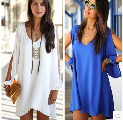 Hot Sale Women V-Neck Chiffon Loose A One-Piece Dress With Slit Long Sleeve BQ3282