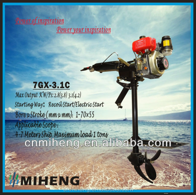 High Quality 4 Stroke 4hp Diesel Short Shaft Outboard Motor (4-35hp) with CE