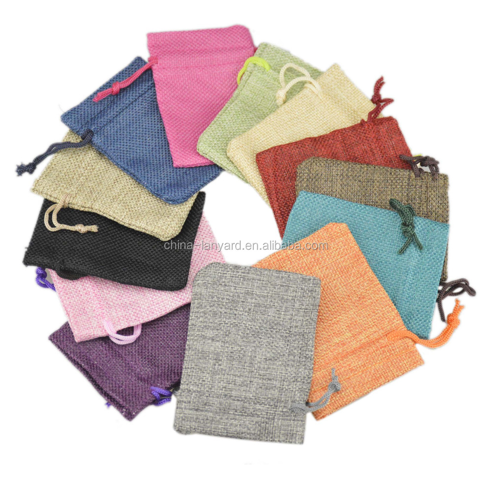 cotton jute blend fabric jewelry pouch free give away cheap pouch