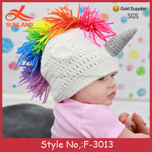 F-3013 custom handmade baby animal rainbow unicorn hats knitted baby bonnet pattern