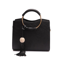 New Women Bag Shoulder Bag Handbag PU Leather Metal Ring Handle Tassel Tote Crossbody Bag
