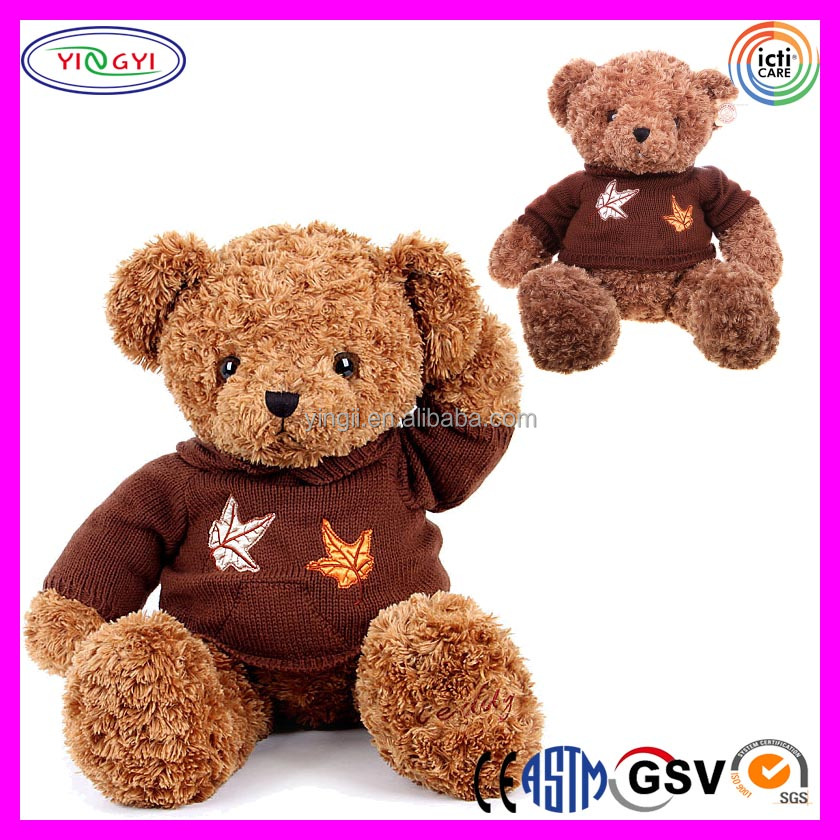 A572 Dark Brown Teddy Bear Plush Animal Stuffed Toy Bear with Knitted Sweater