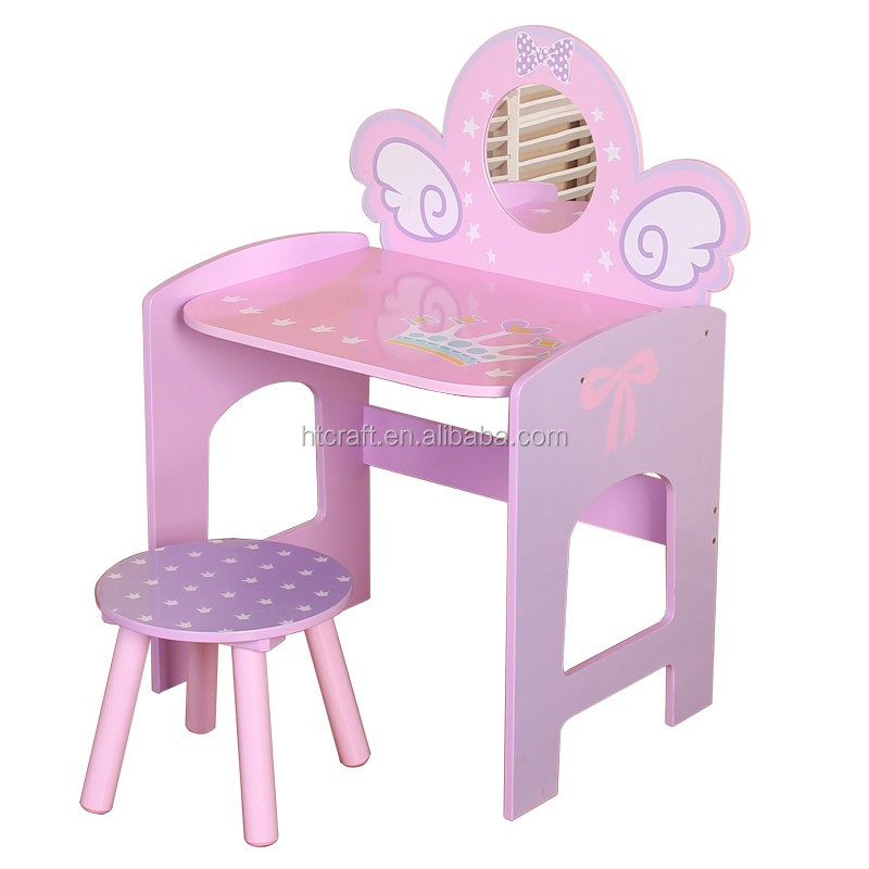 Stylish Pony Wooden Dressing Table Designs With Stool, Easy Assembly Dressing Table, E1 MDF Children Furniture