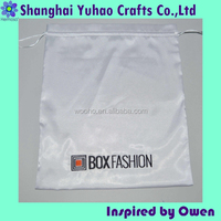 Custom White satin embroidered dust bags for shoes