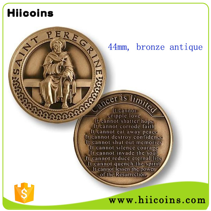 Factory Wholesale Custom Patron Saint of Cancer Patients Challenge Coin for sale