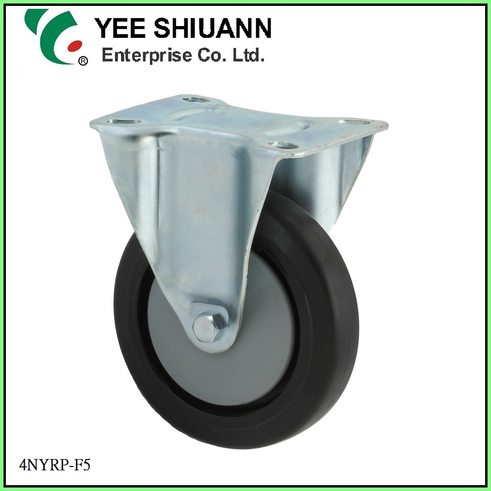 Yee Shiuann high quality black durable 100mm fix rubber caster wheel