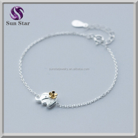925 sterling silver cute lucky elephant two tone bracelet for girls