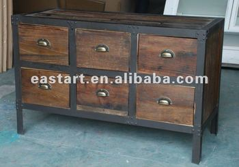 Recycled wood furniture - 6 drawer cabinet