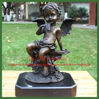 Nude Child Figure Garden Angel Bronze Statue