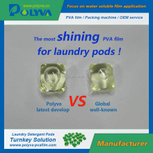 PVA Water soluble film for laundry detergent packs