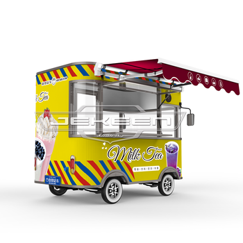 2.8m unique CE Approved customized food truck with bbq grill and various cooking pot