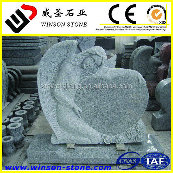 Cheap Granite G603 Angel monument headstone tombstone for european market