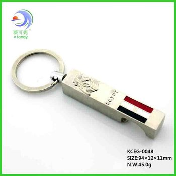 2012 Topest design metal bottle opener key chain silver plated with Egypt flag (KCEG-0048)