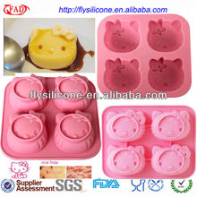 Home Kitchenware High Quality 4 Cup Hello Kitty Pink Hygiene Silicone Ice cube Tray Mould