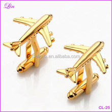 Free Shipping by DHL/FEDEX/SF Fashion Lepton men gold air Plane Cufflinks