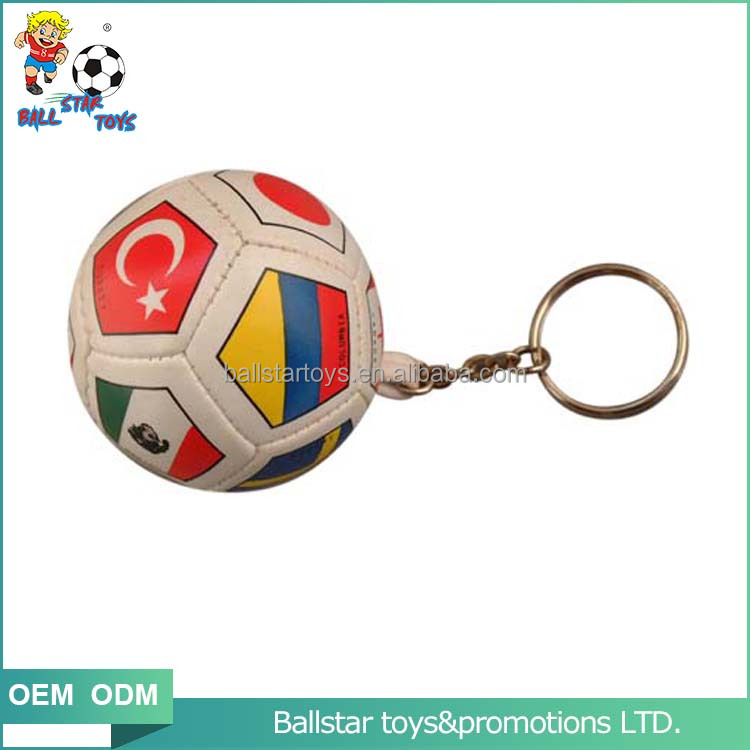 2.5 inch Vinyl leather stuffed Flag Soccer promotion gift ball Keychains