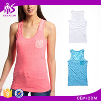 2017 Shandao New Sample Daily Wear Summer Casual Sleeveless Round Neck Slim Pocket With Lace Pink Cotton Women Tank Top