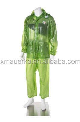 Clear transparent plastic waterproof breathable rain suit