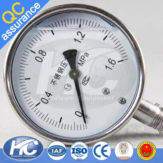 Stainless steel silicone oil filled pressure gauge