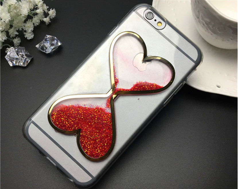 Top seller creative mobile phone accessory heart shape quicksand bumper case for iphone and samsung