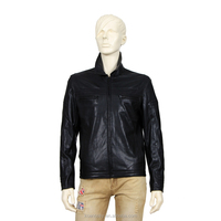 Custom Men Jackets Horizontal Zipper Pocket Leather Clothing