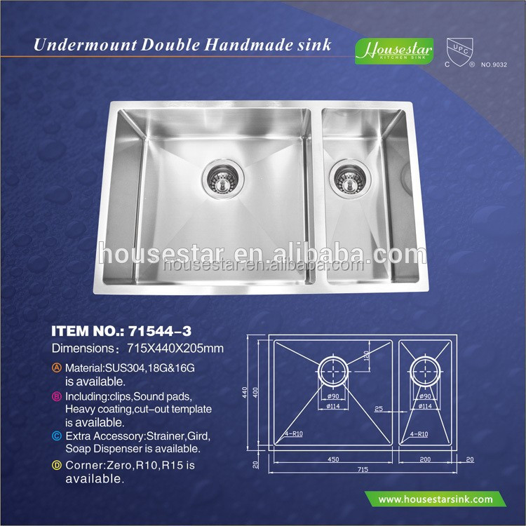 cupc China Supplier Professional Custom,Undermount,Brushed/Polished,Utility Stainless steel American kitchen sink(Round)-71544-3