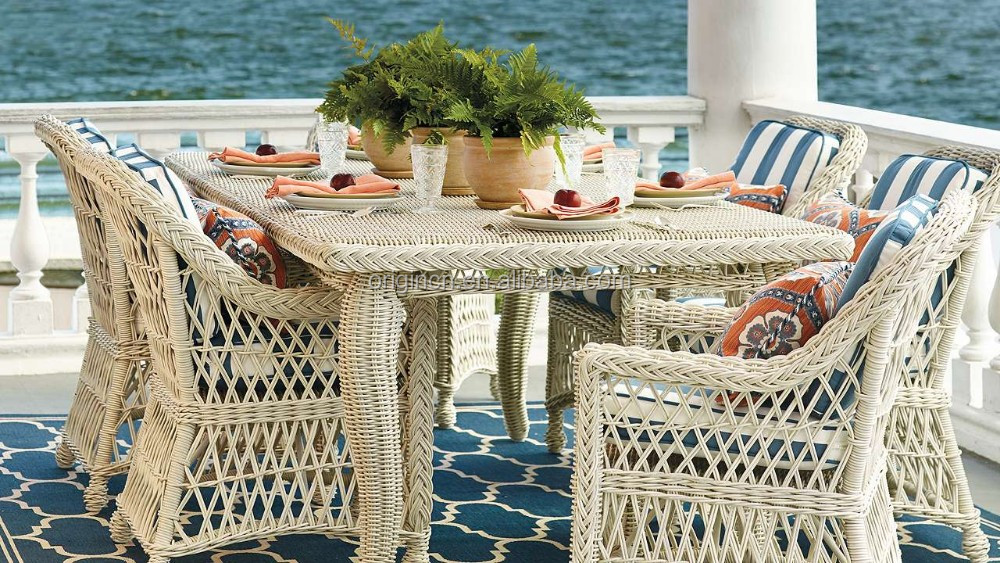 Intricately handwoven retro patio french dining table and elegant armchair bamboo wicker furniture